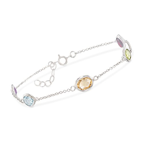 Ross-Simons 5.50 ct. t.w. Bezel-Set Multi-Stone Station Bracelet in Sterling Silver -
