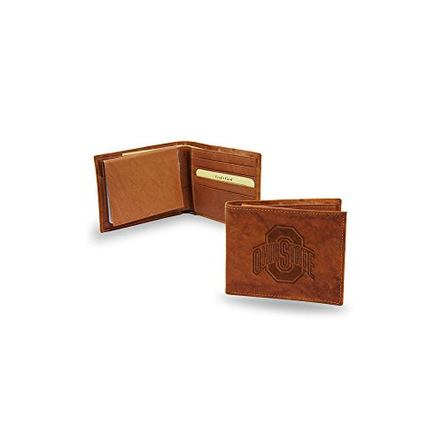 Embossed Leather Billfold - Rico Ohio State Buckeyes NCAA Embossed Brown Leather Billfold Wallet