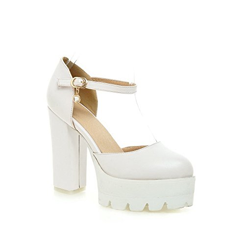 AmoonyFashion Women's Closed Toe High-Heels Soft Material Solid Buckle Sandals, White, - Cheap Outlet Prada