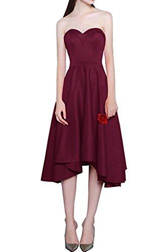 Hi Rot Charmant Brautjungfernkleider Burgundy Damen Partykleider A Linie Abendkleider Asymettrisch lo Wandenlang Rock Satin wqEp5E