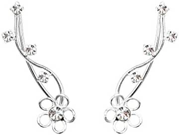 EleQueen 925 Sterling Silver Full Cubic Zirconia Ear Crawlers Sweep Cuff Hook Earrings 1 Pair