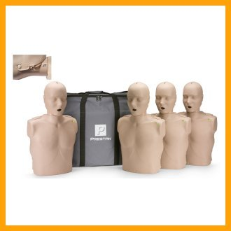 Prestan Professional Adult Jaw Thrust Medium Skin CPR-AED Training Manikins 4-Pack (with CPR Monitor)