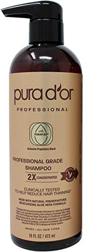 (PURA D'OR Professional Grade Shampoo Anti-Hair Thinning 2X Concentrated Actives for Maximum Results, with Natural Ingredients, Clinically Tested, Sulfate Free, Men & Women, 16 Fl Oz)