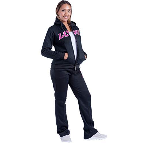 Womens 2 Piece Tracksuit Sweatsuits Fleece Outfit Hoodie & Pants Long Sleeve Sweatshirt Set