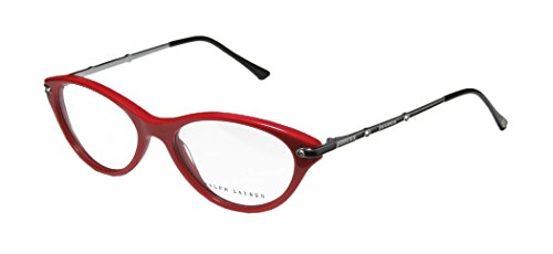 Ralph Lauren 6099b Womens/Ladies Cat Eye Full-rim Rhinestones Eyeglasses/Spectacles (51-16-135, Red/Black/Gunmetal)