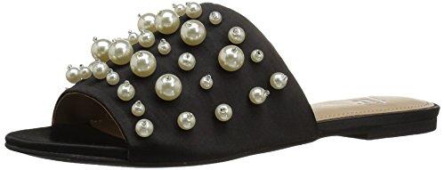 The Fix Women's Faris Flat Slide Sandal with Pearls, Black Satin, 7.5 B US