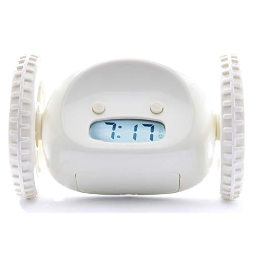 CLOCKY Alarm Clock on Wheels (Original) | Loudest for Heavy Sleeper (Adult or Kid Bed-Room Robot Clockie) Funny, Rolling, Run-Away, Moving, Jumping (White) (Running Clock)