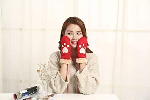Q_STZPX Gloves Glove Mitten Korean Gloves South Korea Cute Cartoon Creative Gloves 喵 Palm Female Winter Thickening Warm cat Claws with Fingers, Yellow