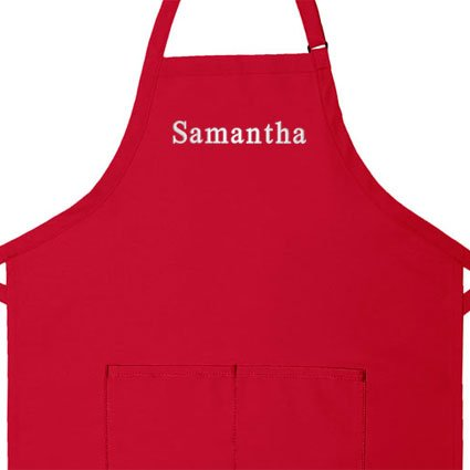 Personalized Apron, Add a Name Embroidered Design, Add Your Own Name, Cotton/Poly Commercial Made in The USA Apron, Adult Bib Aprons (Adult Regular 28