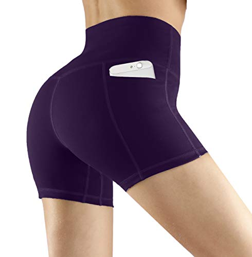 (Fengbay High Waist Yoga Shorts, Workout Running Shorts with Side Pockets Tummy Control Compression Shorts for Women Purple)