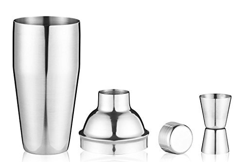 Blue Knob 24-Ounce Cocktail Shaker Bar Set with Built-in Strainer, Jigger