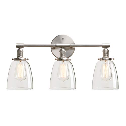 Permo Vintage Industrial Antique Three-Light Wall Sconces with Oval Cone Clear Glass Shade (Brushed)