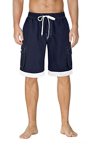 - Nonwe Men's Surf Water Summer Board Trunks with Drawsting Navy&White 42