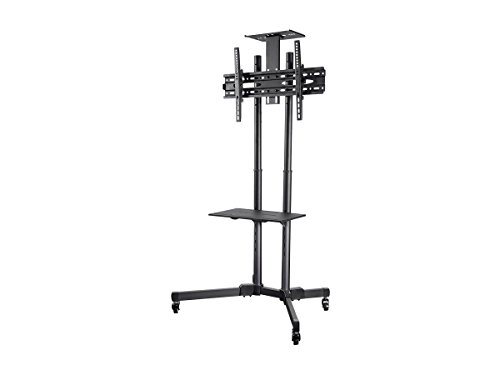 Monoprice Select Series Tilt TV Wall Mount Bracket Stand Cart with Media Shelf - for TVs 32in to 70in Max Weight 110lbs VESA Patterns up to 600x400 Height Adjustable UL Certified by Monoprice