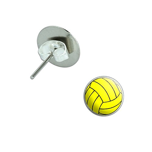 Water Polo Water Polo Ball Novelty Silver Plated Stud Earrings