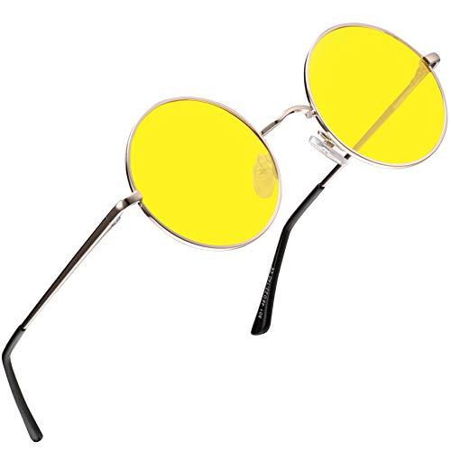 FEIDU Retro Polarized Round Sunglasses for Men Vintage Sunglasses Women FD3013 (3013yellow, 1.81)