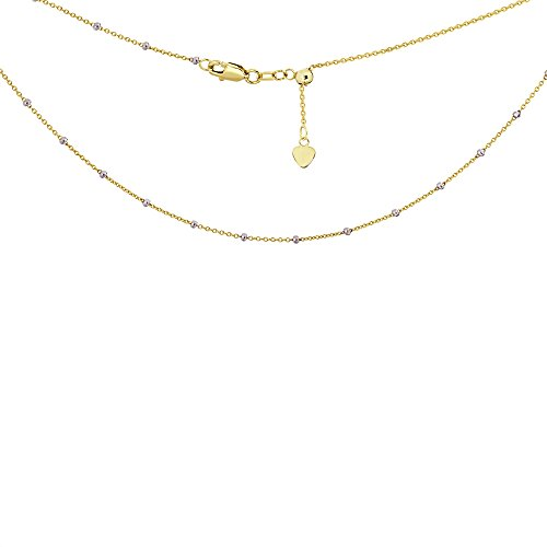 Choker Necklace Saturn Style Chain 14k Yellow and White Gold - Adjustable by AzureBella Jewelry (Image #2)