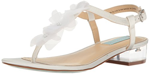 Blue by Betsey Johnson Women's SB-Olive Dress Sandal, Ivory Satin, 8 M US by Betsey Johnson