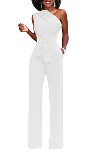 Women's Jumpsuit White (onlypuff White Jumpsuit and Rompers for Women Long Pants One Shoulder Sexy Solid Large)
