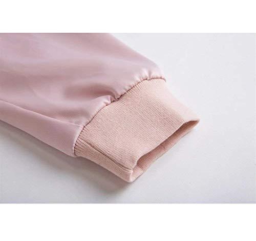 Chiusura Rosa Monocromo Cappotto Plus Eleganti Giovane Con Prodotto Giaccone Di Donna Primaverile Lunga Manica Femminilità Giacca A Moda Women Tasche Unico Cerniera Autunno Baseball Outerwear waSvz