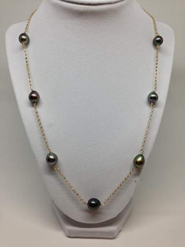Tahitian Tin Cup - Cultured Tahitian Pearl Tin Cup Necklace 14k Gold Rolo Chain