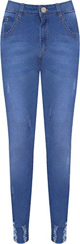 Dchirure Pantalon Jambe Jeans 44 Bleu Femmes Plus Pantalon Maigre WearAll Dames Toile Afflig Jean tendue De 56 nXE7vqwx