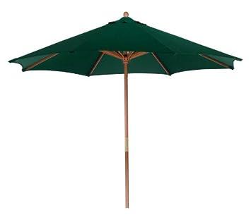 LB International Outdoor Patio Market Hunter Green and Cherry Wood Umbrella, 9