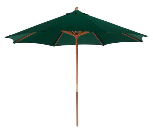 LB International Outdoor Patio Market Hunter Green and Cherry Wood Umbrella, 9′ For Sale