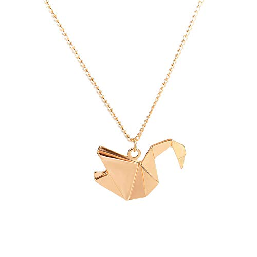 gu6uesa8n Necklaces for Women Fashion Origami Swan Pigeon Crane Long Clavicle Chain Jewelry - Golden
