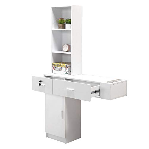 Hair Styling Station Desk,Wall Mount Beauty Salon Barber Spa Salon Equipment Furniture Shelf Desk Storage Cabinet (White)
