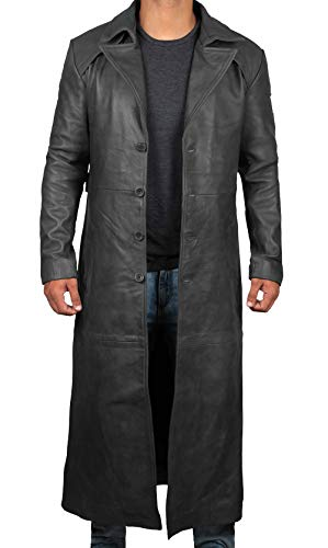 Decrum Black Leather Coat Men - Full Length Duster Overcoat Men Jacket [1500283] | Black Jackson Long Coat, M