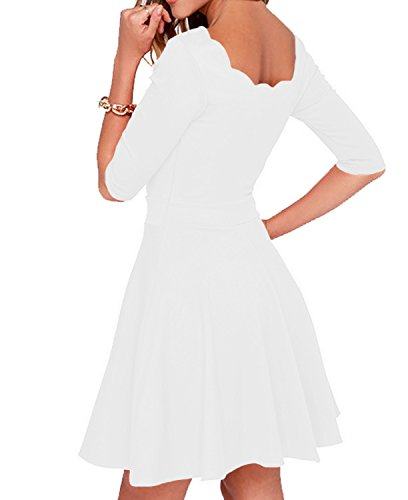 Tengo Women Slim Flared Tunic Wavy Neckline Soft Dress (S, White)