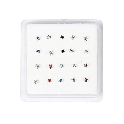 bodya Lot de 20Boîte de Colorful en acier inoxydable 1,5mm Cristaux Strass Bijoux Piercing nez étoile Goujons Anneaux broches hypoallergénique