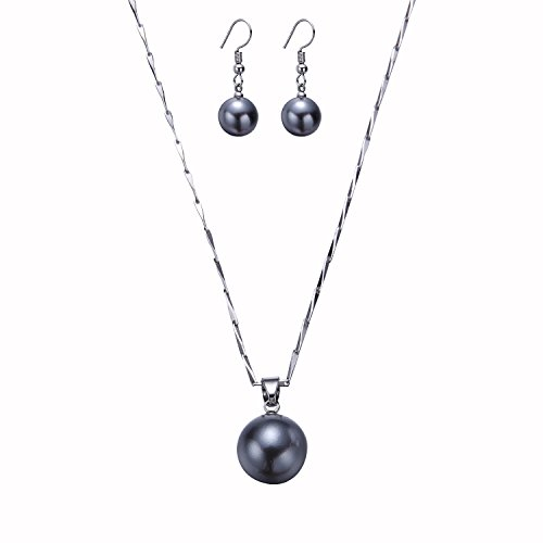 Gray Pearl Necklace Set (SP-Sp Simple Stylish Set Wealth Pearl Temperament Necklace Earrings 3 Colors)