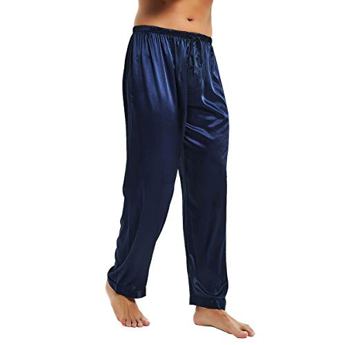 (Mens Silk Satin Pajamas Pyjamas Pants Sleep Bottoms Navy Blue 2XL)