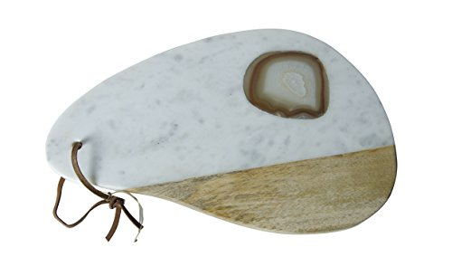 Marble and Wood Cheese Board With Agate Inlay by Blue Ocean Traders