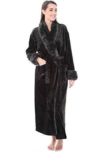 4x Fur - Alexander Del Rossa Womens Fleece Robe, Long Bathrobe, 3X 4X Black with Faux Fur (A0275BLK4X)