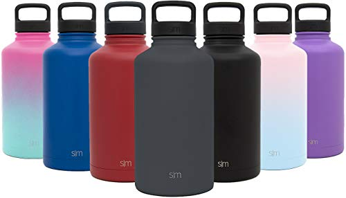 (Simple Modern 40 oz Summit Water Bottle - Stainless Steel Liter Flask +2 Lids - Wide Mouth Double Wall Vacuum Insulated Gray Leakproof Thermos -Graphite)