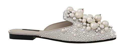Dolce & Gabbana Gray Satin Leather Pearl Lace Mules