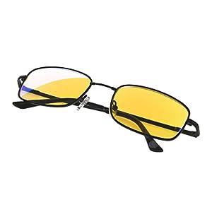 Anti Blue Rays,Reduce Eyestrain,UV Protection,Memory Bridge,Titanium,Computer Reading Gaming Glasses Unisex(Black,Amber Tinted Lenses) +0.75