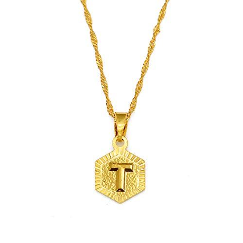 A-Z Letters Gold Color Charm Pendant Necklaces for Women Girls English Initial Alphabet Chain Jewelry Best Gifts,Choose Letter T,45cm