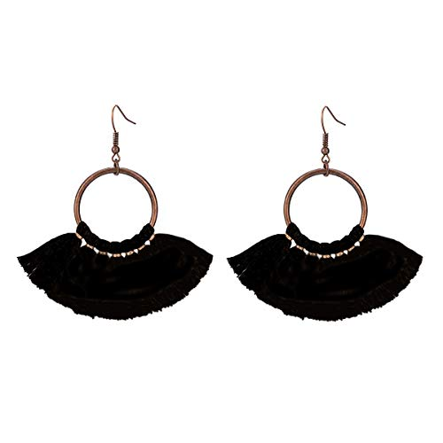 Jiami Fan Tassel Fringe Drop Earrings Dangle Chandelier for Women, Girls Black