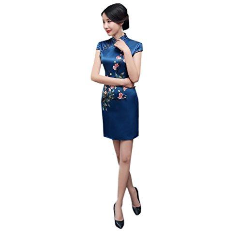 Plusieur Traditionnel Femme Acvip Cheongsam Robe Bleu Party Dress Courte Qipao De Style Asiatique Couleurs Soirée Chinois Foncé Pour Sw6qw