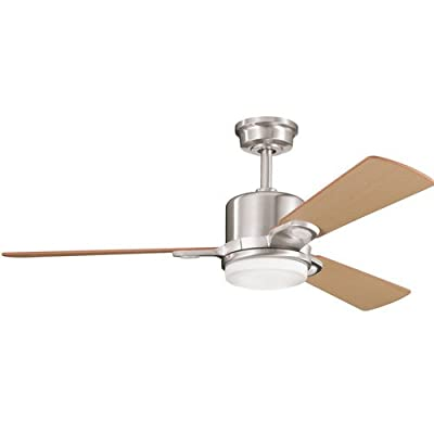 "Kichler 300017BSS, Celino Brushed Stainless Steel 48"" Ceiling Fan with Light & Remote Control"