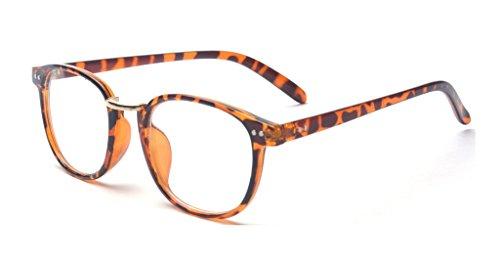ALWAYSUV Vintage Metal Full Leopard Frame PC Clear Rectangle Lens Unisex Glasses