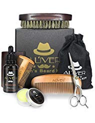 Beard Care Grooming & Trimming Kit 6 in 1 Mens gifts - Unscented Beard Conditioner Oil, Mustache & Beard Comb, Balm Wax,...