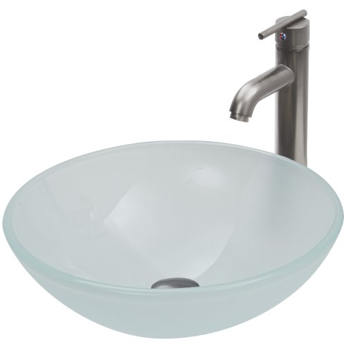 VIGO White Frost Vessel Sink and Seville Vessel Faucet with Pop Up, Brushed Nickel