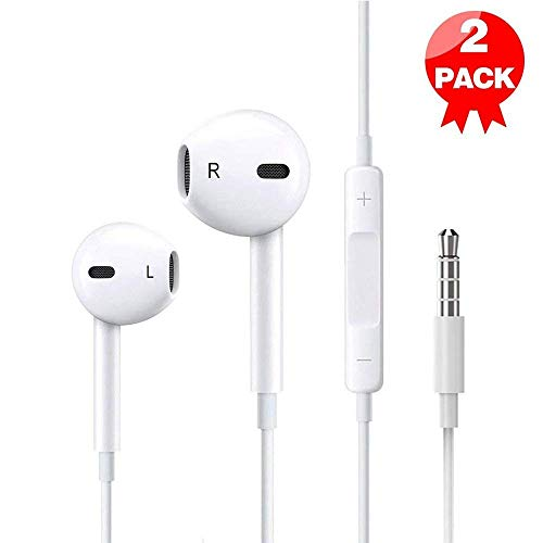 Premium Earphones/Earbuds/Headphones 2-Pack with Stereo Mic&Remote Control Generic Compatible for iPhone 6s 6 5s 5 iPad 7 8 X iPod Samsung Galaxy and More Android Smartphones[White]