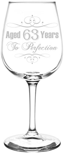 (Personalized & Custom (63rd) Aged To Perfection Elegant & Vintage Birthday Celebration Inspired - Laser Engraved 12.75oz Libbey All-Purpose Wine Taster Glass)