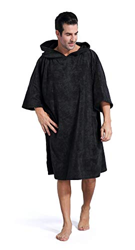 1 Robe - Winthome Changing Towel Poncho Robe with Hood | One Size Fits All (Black)